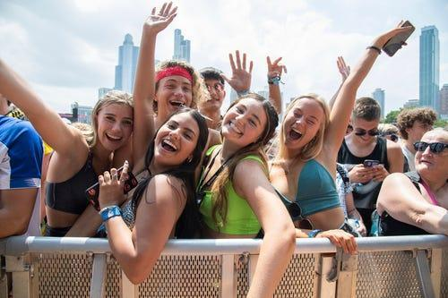 Festivalgoers enjoy Day 1 of the Lollapalooza Music Festival on Thursday, July 29, 2021, at Grant Park in Chicago.