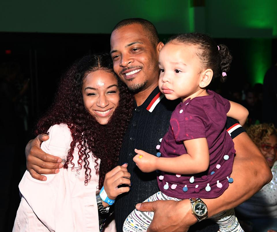 """ATLANTA, GA - JULY 19:  Deyjah Harris, Tip """"T.I"""" Harris and Heiress Diana Harris attend """"The Grand Hustle"""" Exclusive Viewing Party at The Gathering Spot on July 19, 2018 in Atlanta, Georgia.  (Photo by Paras Griffin/Getty Images)"""