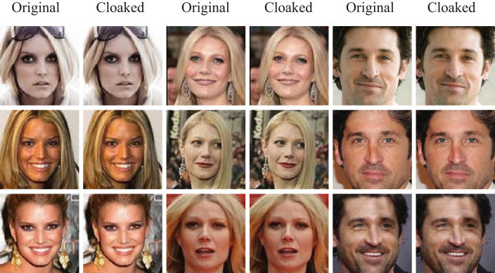 Images provided by the SAND Lab at the University of Chicago show before and after photographs of, from left, Jessica Simpson, Gwyneth Paltrow and Patrick Dempsey that were cloaked by the Fawkes team. (SAND Lab, University of Chicago via The New York Times)
