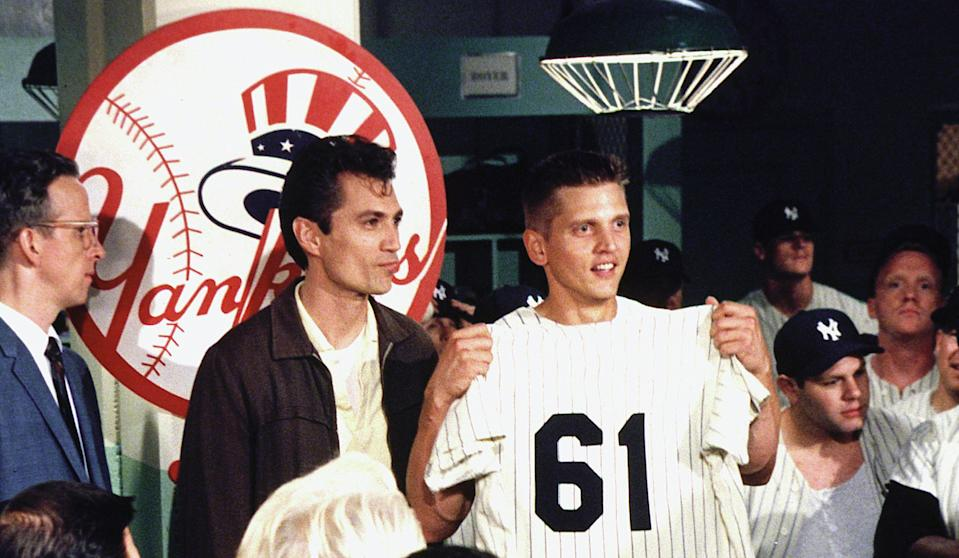 Barry Pepper as New York Yankee Roger Maris in Billy Crystal's 2001 baseball movie, '61*' (Photo: HBO/Courtesy Everett Collection)