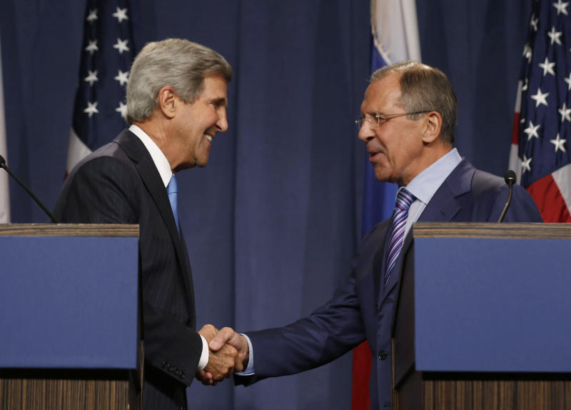 U.S. Secretary of State John Kerry shakes hands with Russian Foreign Minister Sergey Lavrov, right, during a press conference before their meeting to discuss the ongoing crisis in Syria, in Geneva, Switzerland, Thursday Sept. 12, 2013. Secretary of State John Kerry and his team have opened two days of meetings with their Russian counterparts in Geneva. Kerry is hoping to come away with the outlines of a plan for securing and destroying vast stockpiles of Syrian chemical weapons. (AP Photo/Larry Downing, Pool)