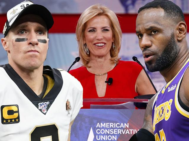 "Laura Ingraham said Drew Brees is ""allowed to have his view"" on kneeling and called outcry against him ""totalitarian conduct"" and ""Stalinist."""