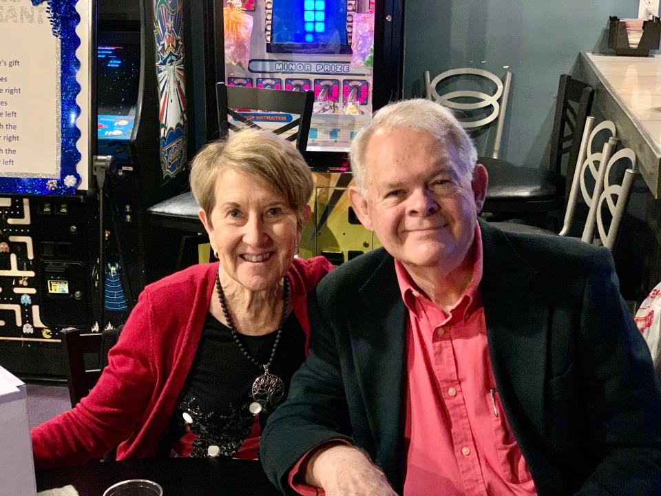 This photo shows Margie and Don Varnadoe attending a Dec.r 2020 Christmas party in Brunswick, Ga, for the real estate officer where Don Varnadoe worked. The husband and wife from St. Simons Island, Ga., were among three people killed when an Amtrak train derailed in Montana on Saturday, Sept. 25, 2021. (Photo courtesy of Robert Kozlowski via AP)