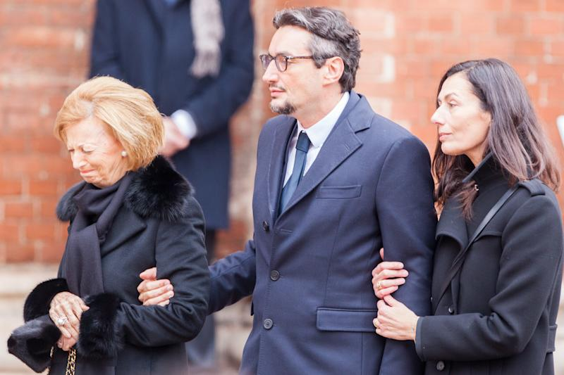 The family of the founder of Ferrero Giovanni, his wife Paola and Maria Franca during the funeral on February 18, 2015 in Alba, northern Italy. Billionaire Michele Ferrero, who became Italy's richest man with a confectionary empire built on his popular Nutella spread, has died at the age of 89. Ferrero had been battling illness for several months. He died in Monte Carlo on February 15, 2015. (Photo by Mauro Ujetto/NurPhoto) (Photo by NurPhoto/NurPhoto via Getty Images)