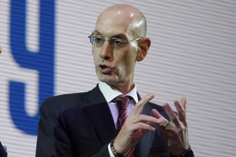 Adam Silver defended the NBA's use of coronavirus tests. (AP Photo/Kiichiro Sato)