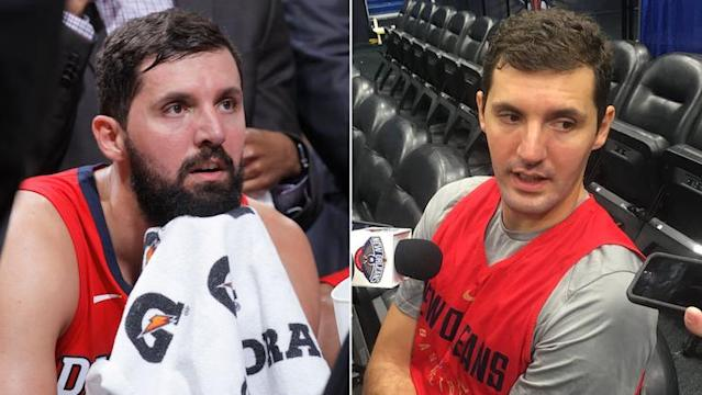 "Pelicans forward <a class=""link rapid-noclick-resp"" href=""/nba/players/4905/"" data-ylk=""slk:Nikola Mirotic"">Nikola Mirotic</a> took a razor to his season. (Getty Images and Twitter)"