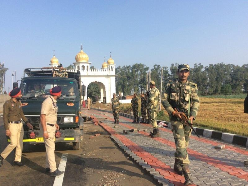 Security was beefed up in the area in preparation for the opening of the Kartarpur Corridor on Saturday. (Photo: Smita Sharma)