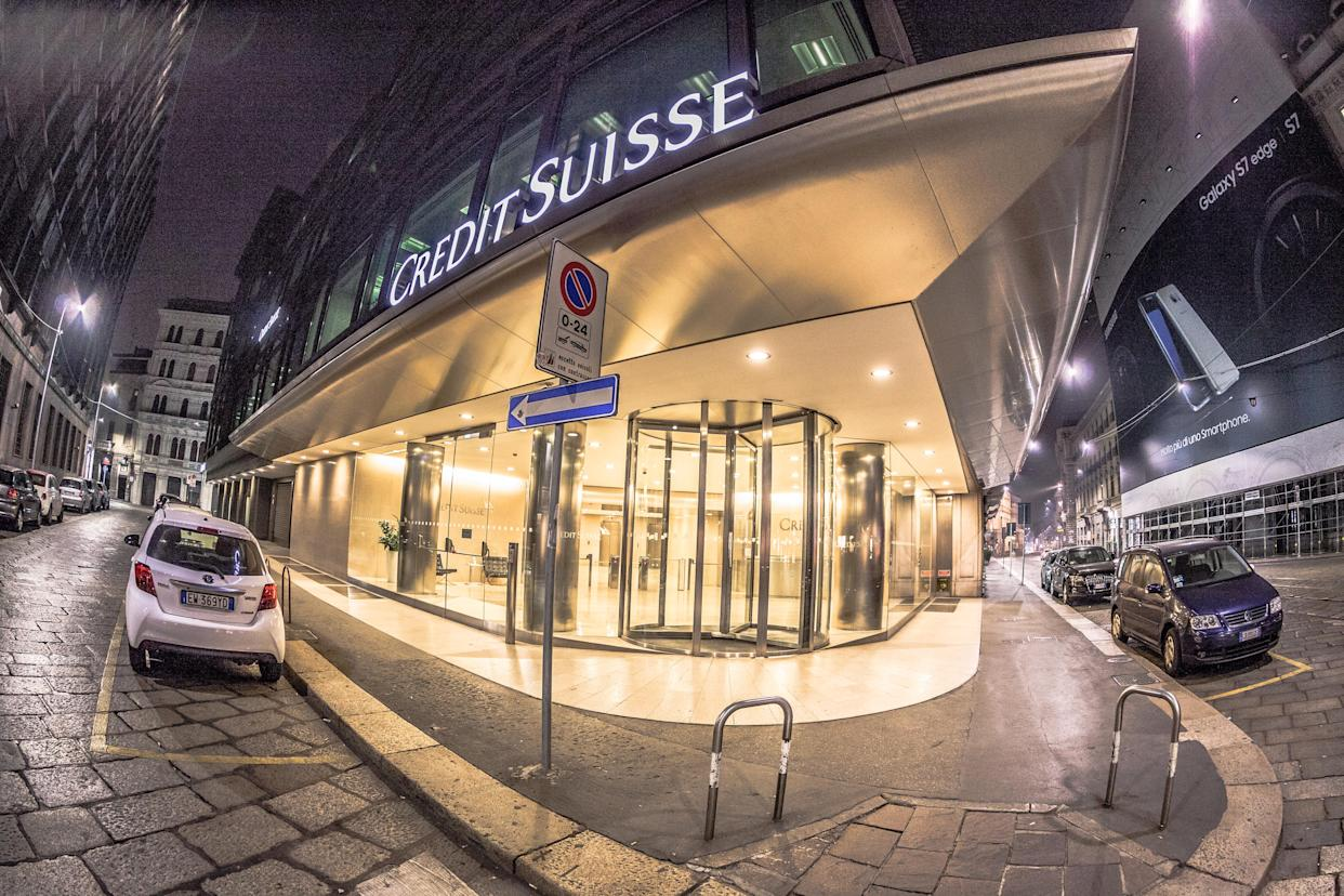 Milan, Italy - September 29, 2016: Credit Suisse building in the centre of Milan, no people are visible. Shot is taken at night.