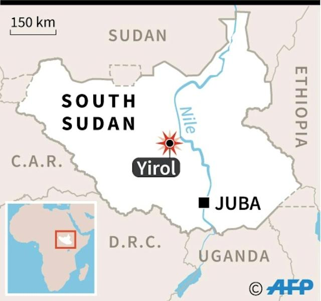 Map locating a plane crash near Yirol in South Sudan, in which 20 people were killed