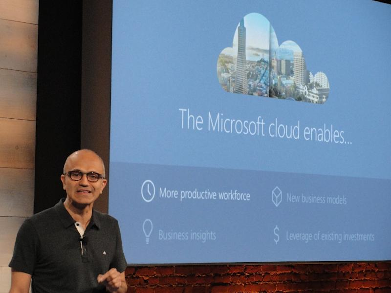 Nadella's focus on cloud computing has helped drive gains for Microsoft (AFP Photo/GLENN CHAPMAN)