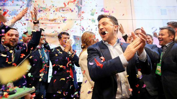 PHOTO: Ukrainian presidential candidate Volodymyr Zelenskiy reacts following the announcement of the first exit poll in a presidential election at his campaign headquarters in Kiev, Ukraine April 21, 2019. REUTERS/Valentyn Ogirenko (Valentyn Ogirenko/Reuters)