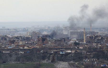 Buildings which were damaged during the security operations and clashes between Turkish security forces and Kurdish militants, are pictured in Sur district of Diyarbakir