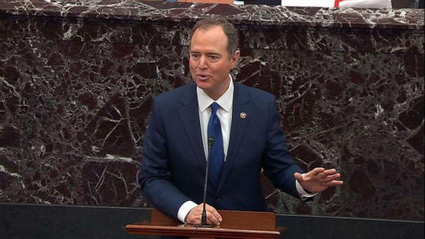 PHOTO: Adam Schiff speaks on the Senate floor during the impeachment trial of President Donald Trump, Jan. 29, 2020, in Washington, DC. (ABC News)