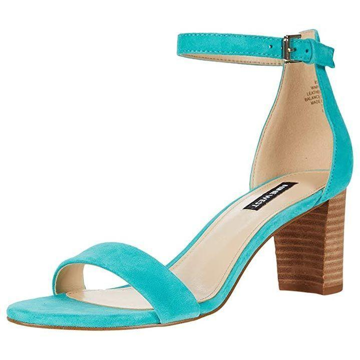 """<p><strong>NINE WEST</strong></p><p>amazon.com</p><p><strong>50.99</strong></p><p><a href=""""https://www.amazon.com/dp/B084GQ1KM8?tag=syn-yahoo-20&ascsubtag=%5Bartid%7C10055.g.28412553%5Bsrc%7Cyahoo-us"""" rel=""""nofollow noopener"""" target=""""_blank"""" data-ylk=""""slk:Shop Now"""" class=""""link rapid-noclick-resp"""">Shop Now</a></p><p>Not only are these heels comfortable with their<strong> open toe fit, chunky heel, and not-<em>too</em>-high heel at 2-and-a-half inches,</strong> but they also come in tons of different colors, prints, and materials so there's something for every occasion. The adjustable strap allows for a good fit at the ankle, and reviewers also point out how flattering they look on.</p>"""
