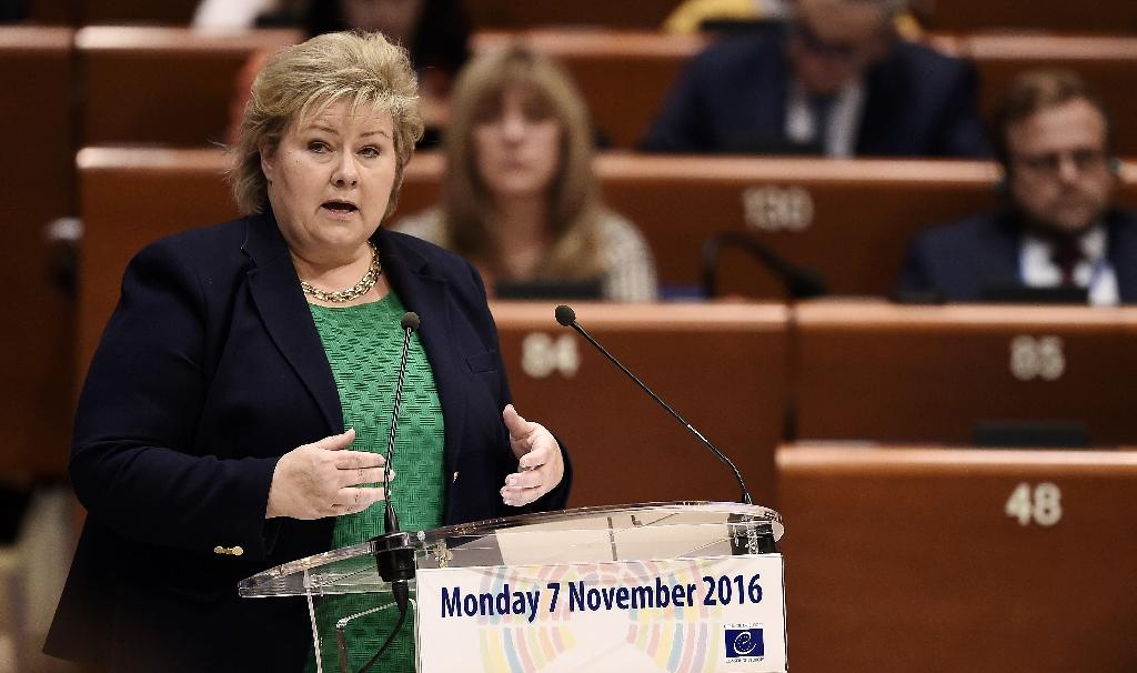 Norway's Prime Minister Erna Solberg's minority government had until Monday to secure majority support from its centrist allies in parliament, the Christian Democrats and Liberals, to pass its 2017 finance bill (AFP Photo/FREDERICK FLORIN)