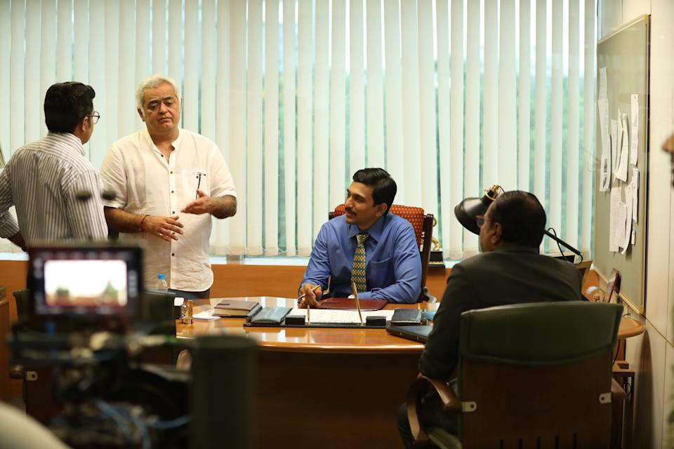 Hansal Mehta with Pratik Gandhi on the sets of Sony LIV's 'Scam 1992' (Photo: HuffPost India )