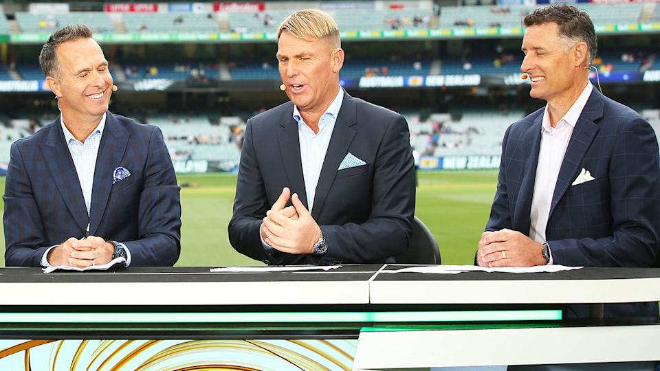 Michael Vaughan, Shane Warne and Michael Hussey, pictured here in 2019.