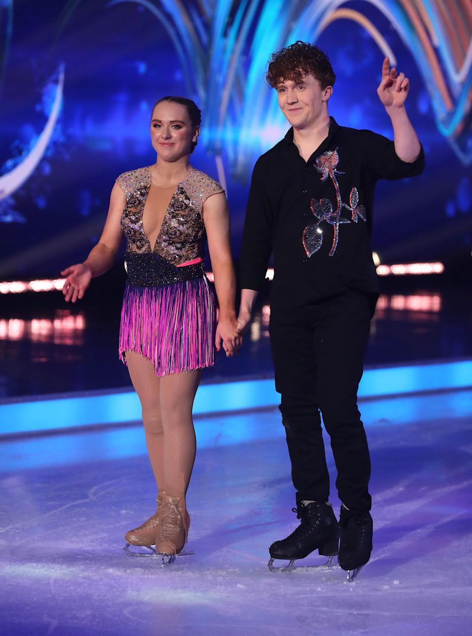 Editorial use only Mandatory Credit: Photo by Matt Frost/ITV/Shutterstock (11757931ih) Amy Tinkler and Joe Johnson 'Dancing On Ice' TV show, Series 13, Episode 5, Hertfordshire, UK - 14 Feb 2021