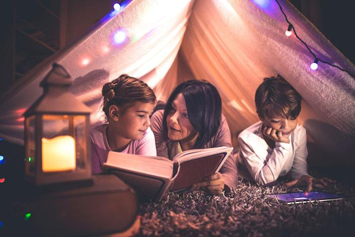 """<p>Who says you have to venture off into the wilderness in order to enjoy a good camping night? Set up a tent in your living room, perhaps string some lights along the ceiling, and enjoy a campout from the comfort and safety of your home. You can even go so far as to purchase <a href=""""https://www.amazon.com/Projector-AIRIVO-Bedroom-Theatre-Bluetooth/dp/B08F9NGZFN/?tag=syn-yahoo-20&ascsubtag=%5Bartid%7C10070.g.35938299%5Bsrc%7Cyahoo-us"""" rel=""""nofollow noopener"""" target=""""_blank"""" data-ylk=""""slk:a star projector night light"""" class=""""link rapid-noclick-resp"""">a star projector night light</a> that will instantly transform your living room ceiling to a marvelous star-filled sky.</p>"""