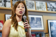 """Nancy Yao Maasbach, President of the Museum of Chinese in America, speaks during the press preview of """"Responses: Asian American Voices Resisting the Tides of Racism"""" at the Museum of Chinese in America, Wednesday, July 14, 2021, in New York. (AP Photo/Mary Altaffer)"""