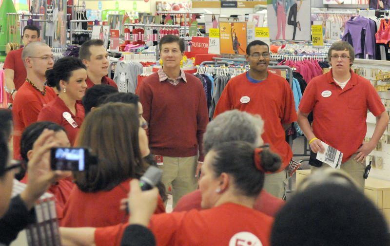 Gregg Steinhafel, Target CEO, joins a team rally prior to the Black Friday store opening on Thursday, Nov. 22, 2012 in Bloomington, Minn. (Janet Hostetter/AP images for Target)