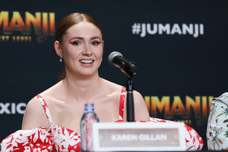 """Karen Gillan attends the """"Jumanji: The Next Level"""" press conference at Montage Los Cabos on November 20, 2019. (Photo by Victor Chavez/Getty Images)"""