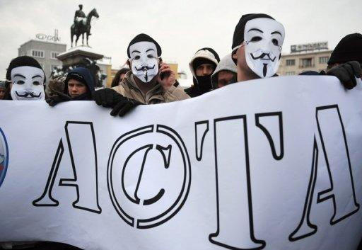 A protest against the Anti-Counterfeiting Trade Agreement (ACTA) in downtown of Sofia