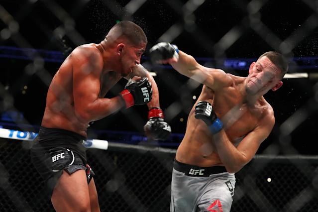 Nate Diaz throws a punch at Anthony Pettis during their welterweight bout at UFC 241 at Honda Center on Aug. 17, 2019 in Anaheim, California. (Joe Scarnici/Getty Images)