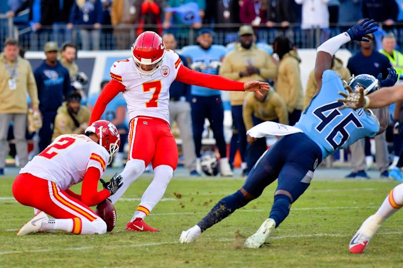 Two bizarre blown Chiefs field goals in the final minutes helped the Titans rally for a wild victory on Sunday. (Jim Brown/USA Today)