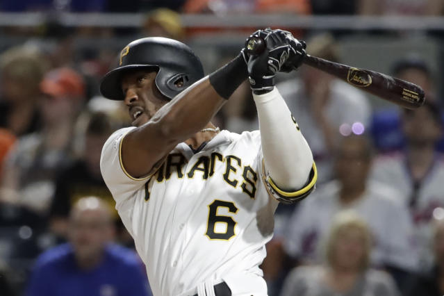 Pittsburgh Pirates' Starling Marte watches his three-run home run off New York Mets relief pitcher Tyler Bashlor during the seventh inning of a baseball game in Pittsburgh, Friday, Aug. 2, 2019. (AP Photo/Gene J. Puskar)