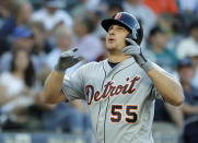 Detroit Tigers' John Hicks reacts as he crosses the plate after hitting a solo home run during the third inning of a baseball game against the Seattle Mariners, Thursday, July 25, 2019, in Seattle. (AP Photo/Ted S. Warren)
