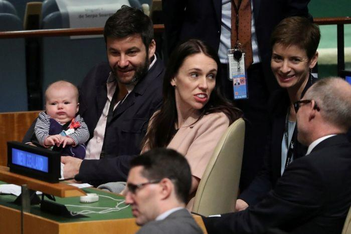 New Zealand Prime Minister Jacinda Arden with her baby at the UN General Assembly (Reuters)
