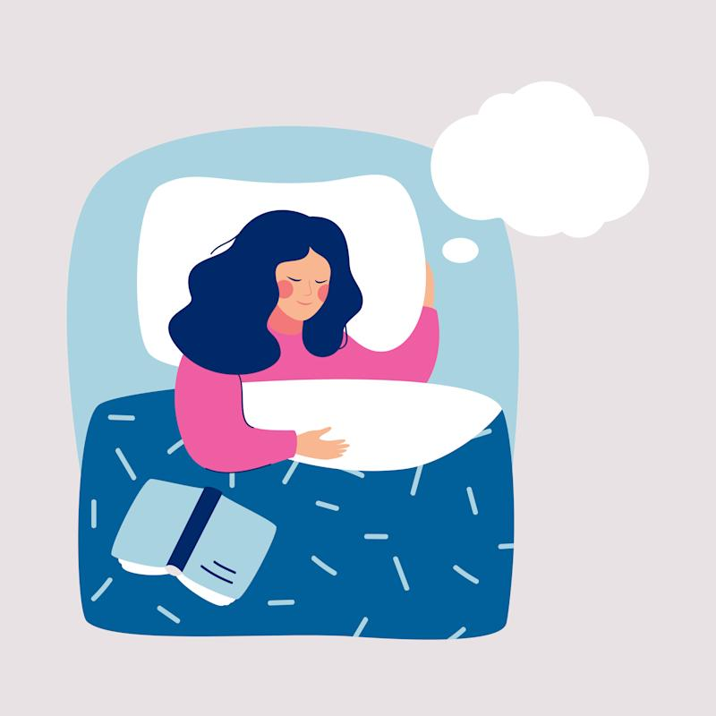 Woman sleeping at night in his bed and sees dream, in speech bubble. Human character Vector illustration.