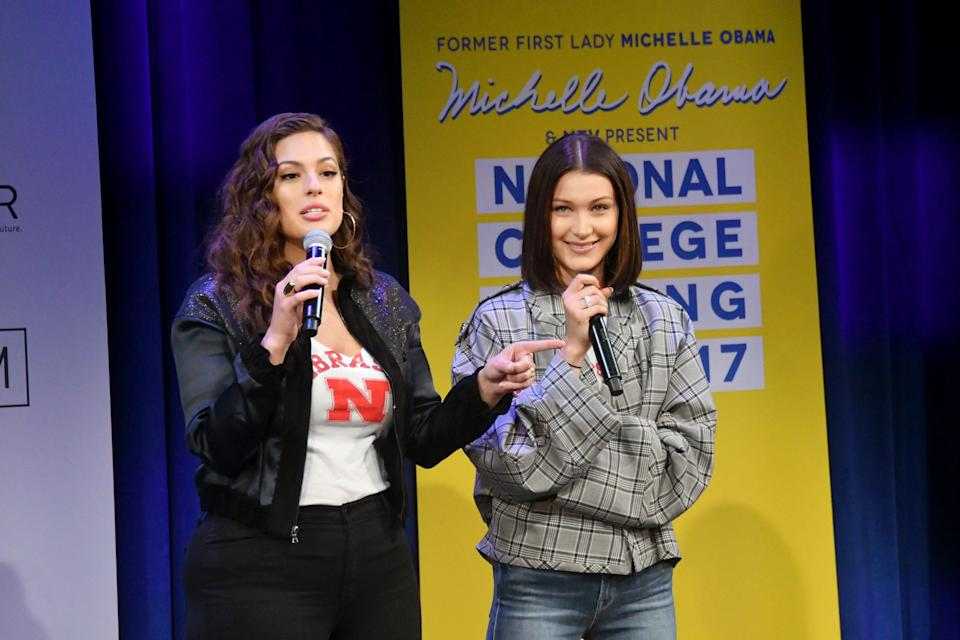 NEW YORK, NY - MAY 05:  Models Ashley Graham (L) and Bella Hadid speak onstage during MTV's 2017 College Signing Day With Michelle Obama at The Public Theater on May 5, 2017 in New York City.  (Photo by Mike Coppola/Getty Images for MTV)