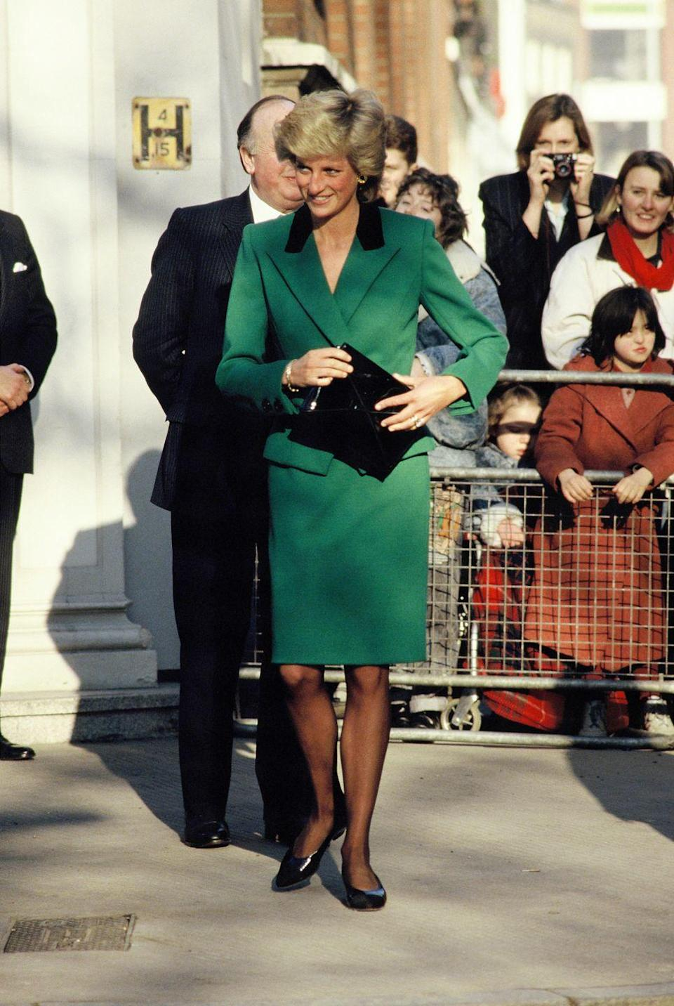 <p>Attending a royal engagement, 1989. Wearing Victor Edelstein.</p>