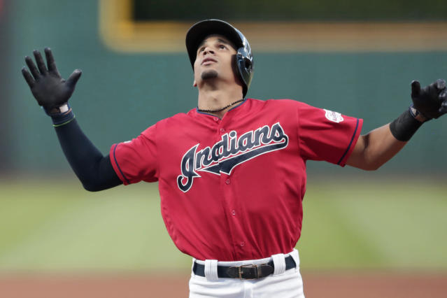 Cleveland Indians' Oscar Mercado looks up after hitting a solo home run during the first inning of the team's baseball game against the Detroit Tigers, Tuesday, Sept. 17, 2019, in Cleveland. (AP Photo/Tony Dejak)