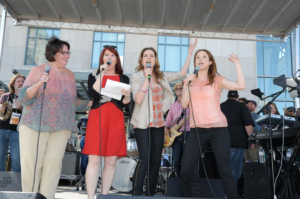"""Scranton Wrap Party"" -- Phyllis Smith, Kate Flannery, Jenna Fischer, Ellie Kemper"