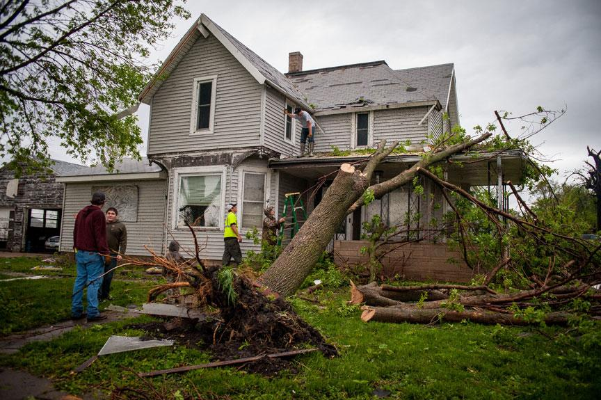 THURMAN, IA - APRIL 14:  People begin to pick up the pieces after the town was hit by an apparent tornado April 14, 2012 in Thurman, Iowa. The storms were part of a massive system that affected areas from Northern Nebraska south through Oklahoma.