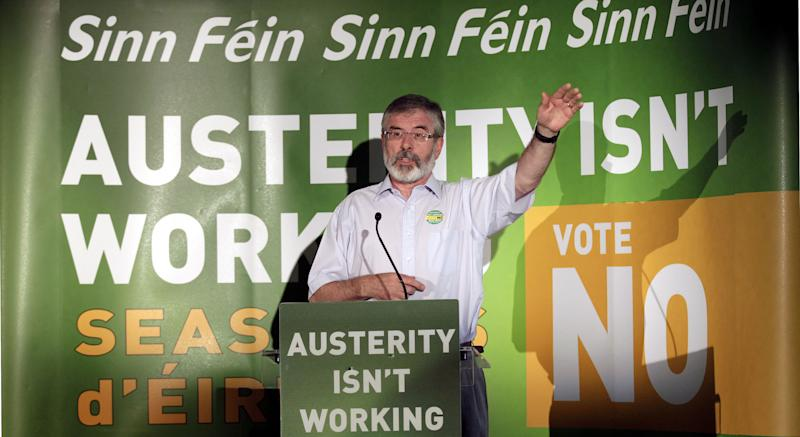 Sinn Fein President Gerry Adams speaks during a rally in central Dublin, Ireland, Monday, May 28, 2012. The Sinn Fein President is calling for a No vote in Thursday's Fiscal Treaty Referendum across Ireland. (AP Photo/Peter Morrison)