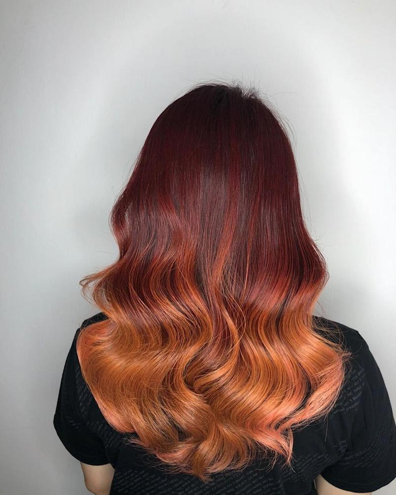 Red & Orange Hair Colour by No 8 Hair Studio @ Jurong East
