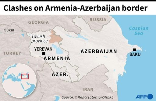 Map of Azerbaijan and  Armenia locating the Armenian province of Tavush where border clashes occurred