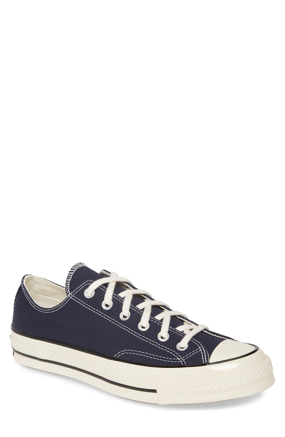"""<p><strong>CONVERSE</strong></p><p>nordstrom.com</p><p><strong>$80.00</strong></p><p><a href=""""https://go.redirectingat.com?id=74968X1596630&url=https%3A%2F%2Fshop.nordstrom.com%2Fs%2Fconverse-chuck-70-ox-sneaker-men%2F5050954&sref=https%3A%2F%2Fwww.menshealth.com%2Fstyle%2Fg37081969%2Fnordstroms-anniversary-sale-best-sneakers%2F"""" rel=""""nofollow noopener"""" target=""""_blank"""" data-ylk=""""slk:BUY IT HERE"""" class=""""link rapid-noclick-resp"""">BUY IT HERE</a></p><p><del>$85</del><strong><br>$49.90</strong></p><p>Look, you may work out in high-quality trainers, but when you want a simple sneaker for your <em>other</em> casual moments, these will be the ones. They're like luxe versions of the brand's classic kicks.<strong><br></strong></p>"""