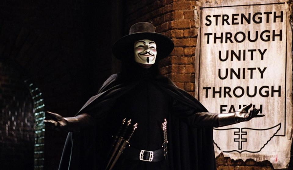 'V for Vendetta'. (Credit: Warner Bros)