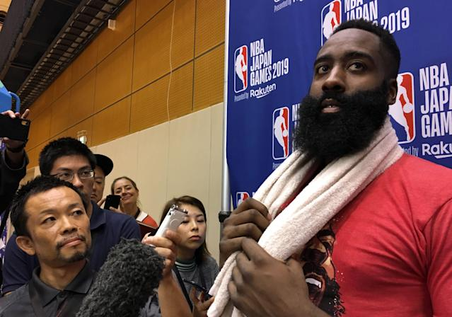 James Harden showed support and appreciation for China as backlash to the Rockets organization grew overseas. (Photo by Natsuko FUKUE / AFP) (Photo by NATSUKO FUKUE/AFP via Getty Images)