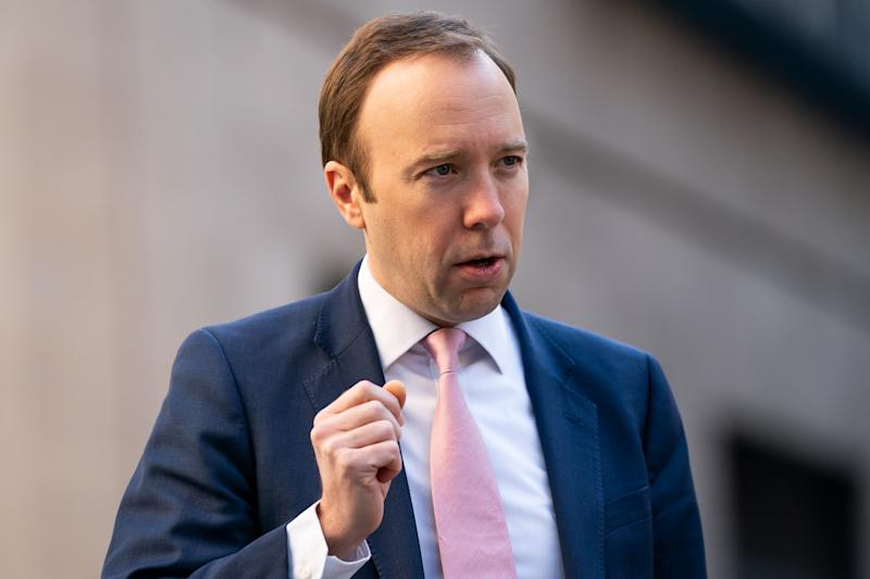 Health Secretary Matt Hancock arrives at BBC Broadcasting House in London to appear on the Andrew Marr show. (Photo by Aaron Chown/PA Images via Getty Images)