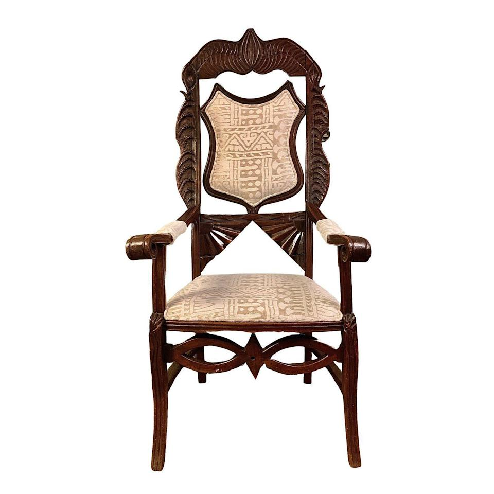 """<p>dressingroomsinteriorsstudio.com</p><p><strong>$675.00</strong></p><p><a href=""""https://www.dressingroomsinteriorsstudio.com/shoponline/1800s-antique-french-chair"""" rel=""""nofollow noopener"""" target=""""_blank"""" data-ylk=""""slk:Shop Now"""" class=""""link rapid-noclick-resp"""">Shop Now</a></p><p><a href=""""https://www.dressingroomsinteriorsstudio.com/"""" rel=""""nofollow noopener"""" target=""""_blank"""" data-ylk=""""slk:Dressing Rooms Interiors Studio"""" class=""""link rapid-noclick-resp"""">Dressing Rooms Interiors Studio</a> in Charlotte, North Carolina is your one-stop shop for one-of-a-kind vintage housewares, design services, and personal shopping to help you create the perfect space. Founded by Ariene Bethea, Dressing Rooms Interiors is a must-see on your next trip to or through Queen City. Just make sure you save some trunk space because you're sure to fall in love with Bethea's incredible curated collection. </p>"""