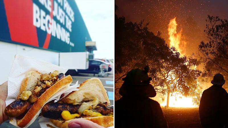 Pictured left is two sausages outside of a Bunnings. Pictured right are firefighters battling a NSW blaze.