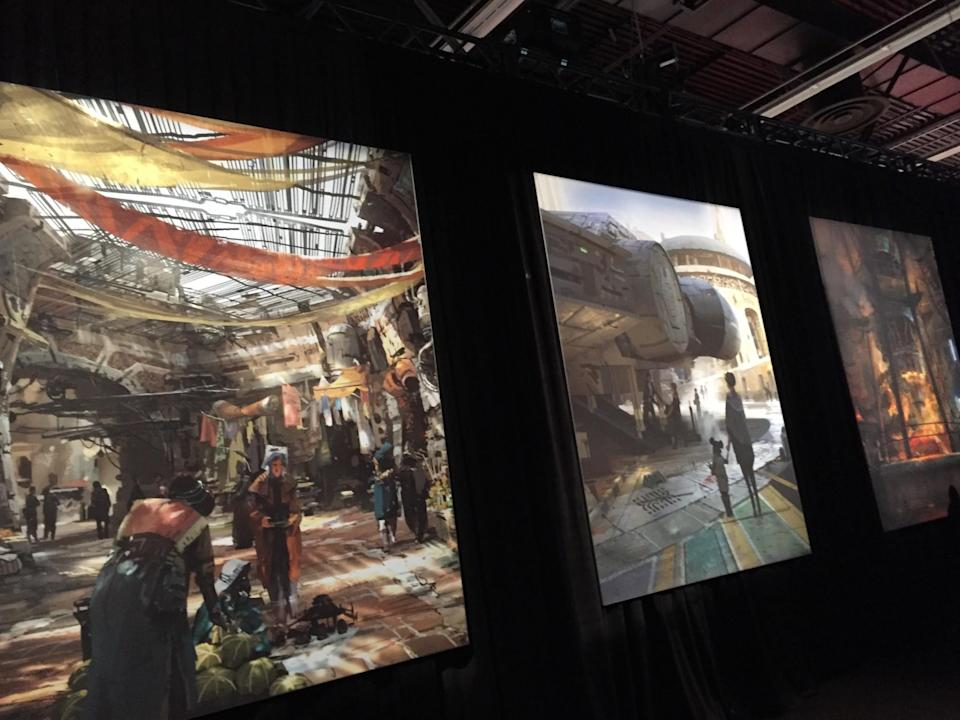 <p>Inside the pavilion were large-format panels depicting street-level views of the various areas of the land, including a marketplace and, of course, a cantina. (Photo: Marcus Errico/Yahoo Movies) </p>