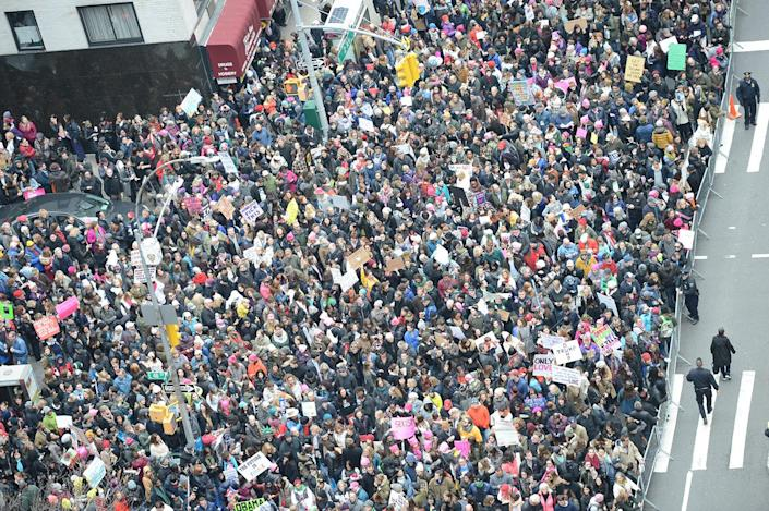 <p>Thousands of participants converge on Dag Hammarskjold Plaza and 2nd Avenue during the Women's March in New York City on January 21, 2017. (Susan Watts / NY Daily News via Getty Images) </p>