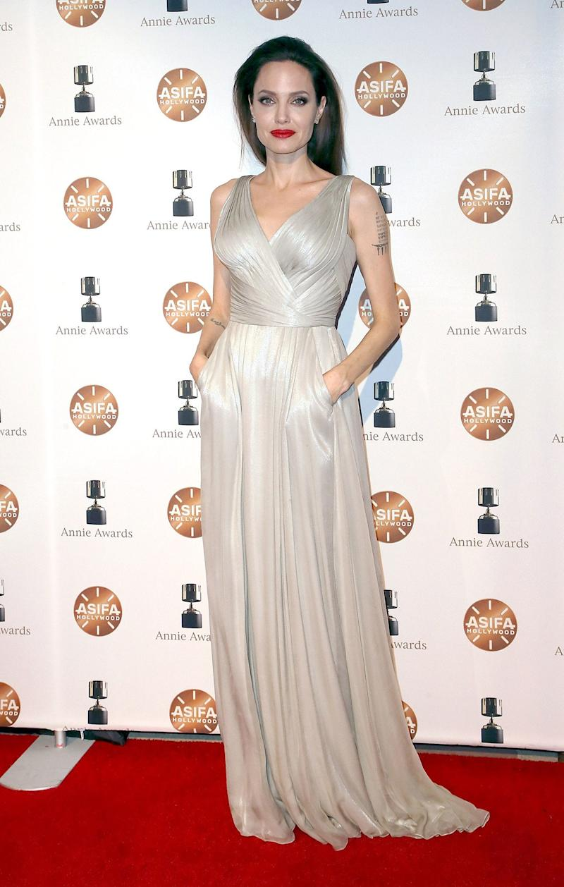 Angelina Jolie What: Atelier Versace Where: At the Annie Awards, Los Angeles When: February 3, 2018